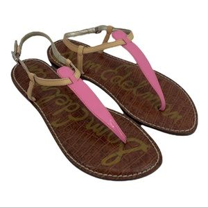SAM EDELMAN Gigi Thong Sandal 8.5 Pink/Cream NWOB
